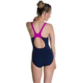 speedo Boom Splice Muscleback Swimsuit Women Navy 34/Diva